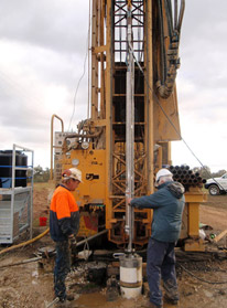 The Grundfos submersible pump being attached to the top of the RO vessel at the Glenkara trial site, Victoria